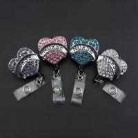Wholesale Rhinestone Reel - Heart Crystal Rhinestone Nurse ID Badge Holder, Woman Badge Retractable Badge Reels