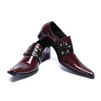 Wholesale bridegroom shoes - Luxury Genuine Leather Mens Dress Shoes Vintage Wine Square Toe Slip On Oxford Bridegroom Wedding Shoes Runway