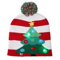 рождественские шапки для взрослых оптовых-2018 Новый Рождество шляпы взрослых детей цвет мяч шляпа Рождество Хэллоуин светодиодные вязать шляпу + шейный платок