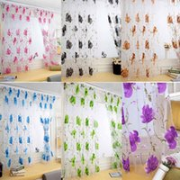 cortinas bufanda al por mayor-Floral Vines Leaves Sheer Curtains Tulle Door Window Cortina de ventana Panel Sheer Scarf Cenefas