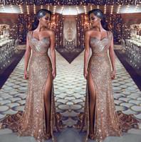 ein schulterzug kleid großhandel-2019 Eine Schulter Pailletten Meerjungfrau Abendkleider Geraffte Split Perlen Bund Party Kleider Sweep Zug Plus Size Prom Kleider