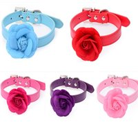 Wholesale leather dog collars leashes online - Solid Color Dog Collar Rose Flower Shape Pet Supplies Pu Leather Collars Pets Leash Wear Resistant Necklace wn HH