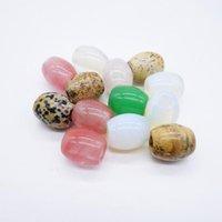 edelsteine perlen halskette großhandel-Natürliche Edelstein Runde Barrel Charms Anhänger Perlen für Halsketten Chakra Modeschmuck Großhandel Sortierte 15 * 18mm 12 Stücke