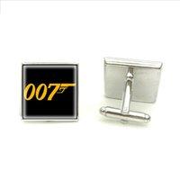 james bond glass toptan satış-2018 Yeni James Bond Kol Düğmeleri Mens Için 007 Sembol Kol Düğmesi Gümüş Kare Kol Düğmeleri Marka Manşet Düğmesi El Zanaat Takı Cam