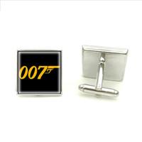 james glass venda por atacado-Novo James Bond Abotoaduras 007 Símbolo Abotoaduras de Prata Quadrado Abotoaduras Para Homens Marca Botão de Punho Mão Artesanato Jóias Vidro