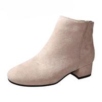 kahverengi seksi kadın çizmeler toptan satış-POADISFOO 2018 kadın Ayak Bileği Çizmeler Noktası Ayak Seksi Kare Topuklar Zip çizmeler Moda malzeme 4 cm topuklu bej siyah Kahverengi FZZ-1991