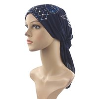 красивые шапки оптовых-Muslim Cotton Full Cover Inner Hijab Cap Islamic Head Wear Hat Underscarf with Belt Bandage Beautiful Random Color Sequins
