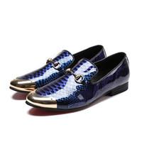 Wholesale Metal Cap Shoes - Luxury Handmade Men Shoes Blue Metal Cap Toe Leather Dress Shoes Comfortable Leather Loafers Shoes
