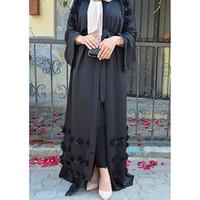 roupa islâmica jilbab abaya venda por atacado-Elegante Adulto Muçulmano Abaya Árabe Turco Singapura Aardigan Apliques Jilbab Dubai Roupas Mulheres Vestido Islâmico Robe Tamanho Grande