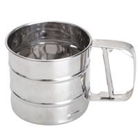 şeker ufalayıcıları toptan satış-Paslanmaz Çelik Hasır Un Elek Örgü Un Cıvata Elek Manuel Manuel Buzlanma Shaker Mekanik Pişirme Shaker Elek Mutfak Aletleri
