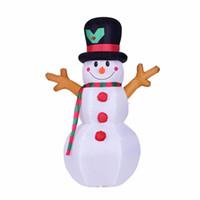 sauter décorations achat en gros de-160 cm géant bonhomme de neige jouet gonflable père Noël LED allumé Noël Halloween Oktoberfest accessoires hiver fête Blow Up décoration