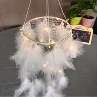 Wholesale pendants strings resale online - New Creative White Round Dream Catcher Feather Handmade Exquisite Dreamcatcher With String Light Wall Pendant Novelty Items CCA10387