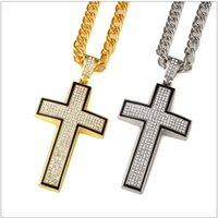 Wholesale Large Stainless Steel Cross Necklace - 2018 Large Bling Cross 3D Hip Hop Iced Out Religious Pendant Franco Chain Gold Silver Plated For Men Women Jewelry Fashion Gift