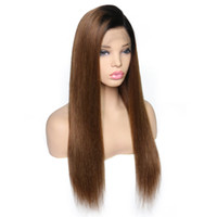 Wholesale remy human silk hair wigs for sale - Group buy Straight Full Lace Wig with Silk Base Human Hair Wigs B Ombre Brazilian Remy Hair Pre Plucked Lace Wig With Baby Hair