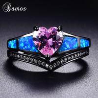 anel de coração negro venda por atacado-Bamos Retro Anel Conjunto de Opala Azul Rosa Coração Cubic Zirconia Anéis de Ouro Preto Ondulado Anel de Onda Para As Mulheres Promessa de Jóias de Casamento