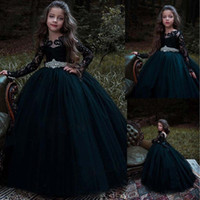 Wholesale print big pictures - Flower Girls Dresses For Weddings Sheer Jewel Neck Lace Applique Long Sleeves Big Bow Sweep Train Tulle Birthday Children Pageant Gowns