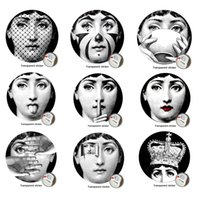 wallpapers stickers Canada - 9 pieces Milan Italy Designer fornasetti plates pattern wallpaper separated painting wall stickers DIY wall decoration 10 inches