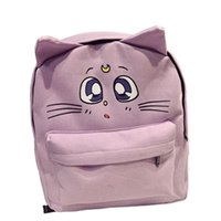 sevimli kedi omuz çantası toptan satış-Yeni sırt çantası tarzı Sailor Moon kanvas çanta Fold sevimli kedi omuz çantası okul çantaları genç kızlar için kitap