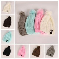 d0410a4c Wholesale beanie hats top ball for sale - Group buy 7colors Winter Knitted  Hats wommen Warm