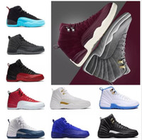 Wholesale ocean games - 2018 Cheap 12 Bordeaux Dark Grey wool shoes white Flu Game UNC Gym red taxi gamma french blue Suede sneaker