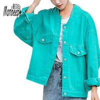 ingrosso giacca gialla denim giacca-Monbeeph verde viola giallo nero Stile Basic Denim Giacche Donna Autunno Jeans Jacket Coat Boyfriend Jacket Outwear