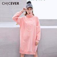 Wholesale korean velvet dress women - CHICEVER Winter Plus Velvet Dress Female Long Sleeve Loose Big Size Hem Split High Collar Women Dresses Clothes Fashion Korean