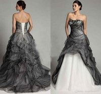 Wholesale gothic long skirts women - Black and White A Line Gothic Wedding Dresses Ruched Tulle Skirt Appliques Beading Vintage Lace up Long Court Train Bridal Dress For Women