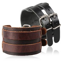 Wholesale Rock Wristbands - 2018 New Punk Rock New 2 Layer Belt Men Genuine Cow Leather Bracelet Buckles Wristband Cuff Bangle lederen armband sieraden