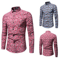 Wholesale mens autumn dress for sale - Spring Autumn Mens Long Sleeved Shirts Floral Printed Slim Fit Shirts Turn Down Collar Single Breasted Shirts