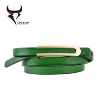 Wholesale Candies Apparel - Candy Color Metal Buckle Thin Casual Belt For Women Genuine Leather Belt Female Straps Waistband For Apparel Accessories AT0256