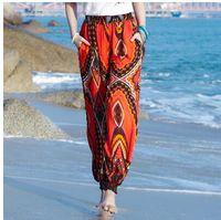 longos bloomers venda por atacado-Verão Novo design das mulheres de férias de praia estilo étnico da nação cintura elástica geométrica impressão solta lanterna bloomer calças compridas calças
