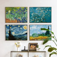 Wholesale Oil Canvas House - 07G Van Gogh Oil Painting Works Sunflower Apricot Abstract A4 A3 A2 Canvas Art Print Poster Picture Wall House Decoration Murals