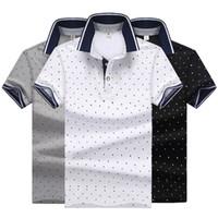 couleur mélangée t shirts achat en gros de-Mode Polo Hommes Solide Couleur Polo Chemises T Chemises Causal D'été Polo Shirt Hommes High Street Dot Imprimé Coton Mélange Chemises T-shirts M-4XL