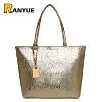 Wholesale Crocodile Leather Big Bag - Brand Fashion Casual Women Shoulder Bags Silver Gold Black Crocodile Handbag Pu Leather Female Big Tote Bag Ladies Hand Bags Sac