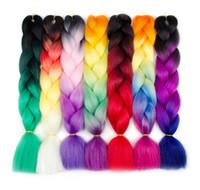 ompit örgülü saç toptan satış-Toptan Fiyat Ombre kanekalon büküm örgü saç jumbo örgüler saç uzatma sentetik tığ örgü saç