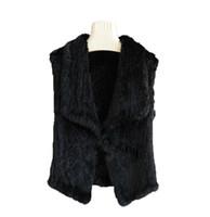 Wholesale knitted rabbit vest online - Women s Real Rabbit Fur Waistcoat Vest Knit Short Jacket Sleeveless Coat