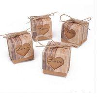 tatlı göğüs kutusu toptan satış-Klasik Şeker Kutusu Özgünlük Aşk Kalp Düğün Iyilik Hediye Kutuları Retro Tatlı Şeker Durumda Kraft Kağıt Sıcak Satış 0 25jh ff