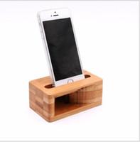bambus-ladegerät großhandel-Stilvolle Echtholz Bambus Smartphone Halter Handy Stand Natürliche Holz Sound-Verstärker Halterung Station Ladegerät Dock Desktop Stand Cradle