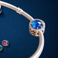 herz perlen blau großhandel-925 Sterling Silber Herz Blau Kristall Klar CZ Charms Europäische Perlen mit Original Box Fit Pandora Kette Schlange Armband Charms Schmuck DIY