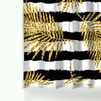 impresión de estilo moderno al por mayor-Brillo moderno Hojas doradas Cortinas de ducha con estampado de piña Poliéster Impermeable Cortina de baño estilo gato flamenco