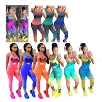 Wholesale two piece tank tops - Love PINK Gradient Women Tracksuit Sportwear Yoga Sleeveless Wear Two Piece Tank Top and Pants Tights Leggings Set