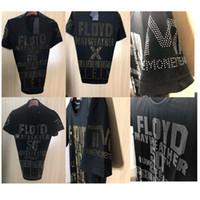 Wholesale Tshirts Slim Sleeve Mens - FLOYD T-Shirts Mens Gold Beads Letters Print tshirts New 2018 Spring Diamonds Cotton Short Sleeve Male Slim Sport Poloshirt Shirts 18759
