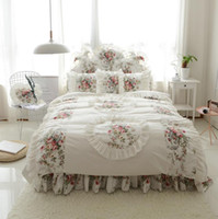 Wholesale modern girl bedding online - 100 Cotton Girls Korean style Bedding Set King Queen Twin Size Floral Lotus Leaf Bed skirt set Duvet Cover Pillow shams