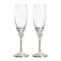 Wholesale Wine Pearls - GFHGSD wedding wine glasses for love crystal champagne flutes Creative toasting champagne wine glasses White pearl enamel