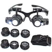kafa bandı büyüteçleri toptan satış-Kafa Gözlük İzle Onarım Saatçi Büyüteç Büyüteç Kuyumcu Büyüteç Gözlük Aracı Lamba Ile Set LED Işık 10X 15X 20X25X