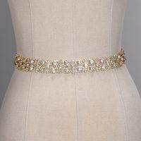 ceinture en tulle strass achat en gros de-Ceintures de mariage à la main en cristal doré argent strass robe de mariée ceinture accessoires de mariage formel ceinture de ceinture de ruban de mariée CPA1393