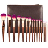 Wholesale complete cosmetic set - Professional 17pcs Makeup Brushes Set Fashion Lip Powder Eye Kabuki Brush Complete Kit Cosmetics Beauty Tool with Leather Case