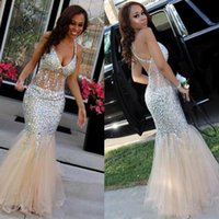 Wholesale Dress Evening Squins - 2017 Plus Size Mermaid Prom Dresses Tulle Sexy Deep V Neck Floor-length Beaded Crystal Squins Backless Back Cross Straps Evening Party Dress