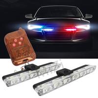 araba ambulansı toptan satış-2x6 LED Kablosuz Uzaktan Strobe Uyarı Işıkları 12 V Araba Çalışma Işığı Ambulans ışık Acil Yanıp Süper Parlak