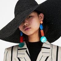 ingrosso grandi orecchini di conchiglia-Orecchini pendenti con ciondolo nappato bohémien per le donne realizzate a mano con boho etnico in resina ciondola gli orecchini brincos